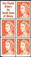 Lot 765:1966-73 QEII Definitives BW #442cj 4c helecon paper booklet pane of 6 with 'Use Postal/Orders/for/Small Sums/of Money' slogan, Cat $40.