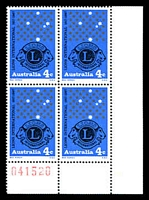 Lot 3247:1967 Lions BW #475zb lower pane sheet number block of 4.
