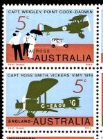 Lot 887 [2 of 2]:1969 England-Australia Flight Anniversary BW #514 se-tenant block of 9, Cat $30, TLC showing unlisted Retouch above tail of plane & left central unit with Black flaw on 'E' of 'ENGLAND'.