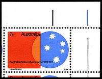 Lot 2922 [2 of 2]:1971 Australian Natives Association BW #555d 6c, TRC block of 6, TRC unit with Retouch in upper portion of orange segment [LP 1/5].