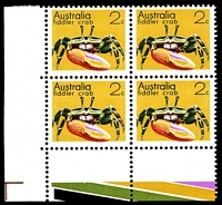 Lot 3368:1973-80 Marine Life BW #637 2c Coral Crab, BRC block of 4 with partial colour bar strip, with Retouch right of right leg [R10/1]