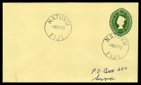 Lot 3474:Natuvu (2): 'NATUVU/9OCT70/FIJI', on 2c green QEII envelope.  Renamed from Buca Bay PO 16/11/1953.