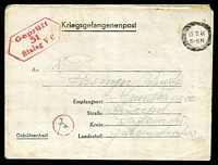 "Lot 3528:1944 use of 'Kriegsgefangenenpost' letter sheet, cancelled with thick oval '13 11 44/5-6N' (A1), & bearing hexagonal 'Geprüft/51/Stalag VC' (A1, Offenburg) in red & mss ""Fa"" in handstamped red circle, to Poland, a few tone spots."