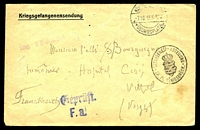 Lot 4085 [1 of 2]:1915 use of 'Kriegsgefangenensendung' envelope, cancelled with double-circle 'KÖN[IGSBRÜCK]