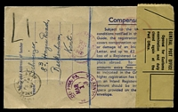 Lot 19990 [2 of 2]:1949 use of 5½d brown registration envelope, cancelled with poor Anerley cds of 15FE49, with registration label, sealed at left with OE 22 General Post Office, customs label tied by '[crown]/CUSTO