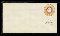 Lot 23272:1922 Reduced Rate HG #KB50E 2d orange opt with triangular 'W.C.' (to indicate refund of ½d), (Huggins & Baker #ES57), black mourning border, flap partly removed.