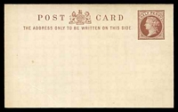 Lot 22369:1870 QV Facing Left With Border HG #16b ½d red-brown on thick white stock, Type II arms, Die B.