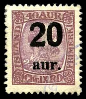 Lot 3737:1921-22 Surcharges SG #143 20a on 40a claret Christian IX, Cat £22.