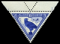 Lot 4161:1930 Triangular Airmail SG #173 10a dark blue & blue, top marginal single, Cat £22, hinged in selvedge only.