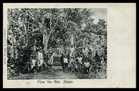 Lot 57:Fiji L.N. Anderson black & white PPC (Dear #1) of 'Fijian War Gate. Nakelo', some mild soiling. [View not recorded.]