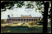 Lot 420 [1 of 2]:Germany Farben-Photos coloured PPC of 'BERLIN/Lustgarten/Denkmal Friedrich Wilhelm III', franked with 5pf green Germania x2, cancelled with 'BERLIN NW/23.1.14 8-9N/*21e' (B1), to Bendigo, Vic, edge wear.