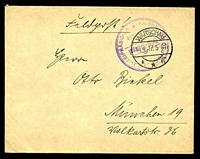 "Lot 26799:1917 use of stampless ""Feldpost!"" cover, cancelled with 'WARSCHAU/14.4.17.5-6N/**g' (A1), violet double-circle 'KAISERLICH DEUTSCHES POLIZEIPRASIDIUM/Brief-Stempel/WARSCHAU' (A2) in TRC, to Germany."