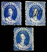 Lot 6410:1880 Small Chalon Litho Wmk 2nd Crown/Q Perf 12 SG #118-20 2/- blue in 3 shades, each with fiscal cancels, Cat £12 for fiscal cancellations.