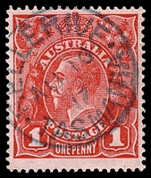 Lot 1766:Bellerive (1): - framed 'BELLERIVE/AU10/17/TASMANIA' in bluish ink on 1d red KGV.  Renamed from Kangaroo Point PO 1/1/1882; replaced by Rosny Park PO 15/10/1982.