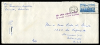 Lot 4270:1952 use of Lebanese 25p ultramarine, cancelled with 'WASHINGTON, D.C. 37/SEP 10/430PM/1952' (A1) machine, on long cover from US Emabassy, Beirut to Denver, Colorado, bearing straight-line 'This article originally mailed/in country indicated by postage', torn backflap.