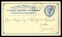 Lot 4524:1879 Liberty HG #5a 2c dark blue on light buff, cancelled with 'LEBANON/MAY/25/1888/OREG' (A1-), to Germany, small closed tear at right.