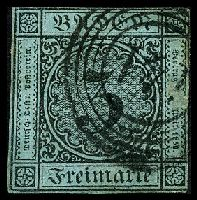 Lot 19945:1858 Numerals Mi #8 3kr black on grey-blue 2½-margins, Cat €40, cancelled with circles '141' of Stühlingen (A2), small surface abrasion at right, slight shallow thin at BRC.
