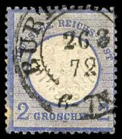 Lot 22520:1872 Small Shield Mi #5 2gr grey-ultramarine, Cat €20, hint of toning at BLC.