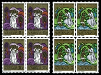 Lot 2975:1973 Christmas BW #650-2 set of 2 in blocks of 4, Cat $11, 7c P14x14.4.