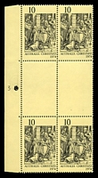 Lot 356:1974 Christmas BW #680zd 10c, Plate '3' left marginal number & perf pip block of 4, Cat $15.