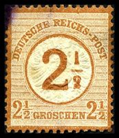 Lot 3487:1874 Overprints Mi #29 2½gr brown-orange, Cat €55, some toning primarily on back.