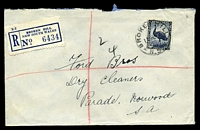 Lot 5349 [1 of 2]:Broken Hill: 'BROKEN HILL/10SE43/N.S.W.', on 5½d Emu, on registered cover to Norwood, SA, with blue C6 registration label.  PO 1/1/1886.