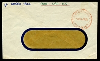 Lot 1378:Bathurst Street: - 'PAID AT BATHURST ST/3½D14JY58/TAS-AUST' on plain window envelope, mss notation at top. [Rated R]  PO 9/8/1954.