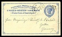 Lot 28604:1879 Liberty HG #5a 2c dark blue on light buff, cancelled with 'LEBANON/MAY/25/1888/OREG' (A1-), to Germany, small closed tear at right.