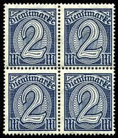 Lot 22549 [2 of 10]:1920 Numerals Without '21' in Corners: Mi #23-33 set of 10, excludes 20pf violet-ultramarine, in blocks of 4, Cat €60, most are marginal with 2**/2*, only 1 unit of 2m is ** & all units of 10pf are *.