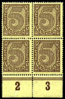 Lot 22549 [3 of 10]:1920 Numerals Without '21' in Corners: Mi #23-33 set of 10, excludes 20pf violet-ultramarine, in blocks of 4, Cat €60, most are marginal with 2**/2*, only 1 unit of 2m is ** & all units of 10pf are *.