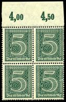 Lot 22549 [4 of 10]:1920 Numerals Without '21' in Corners: Mi #23-33 set of 10, excludes 20pf violet-ultramarine, in blocks of 4, Cat €60, most are marginal with 2**/2*, only 1 unit of 2m is ** & all units of 10pf are *.