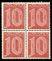 Lot 22549 [5 of 10]:1920 Numerals Without '21' in Corners: Mi #23-33 set of 10, excludes 20pf violet-ultramarine, in blocks of 4, Cat €60, most are marginal with 2**/2*, only 1 unit of 2m is ** & all units of 10pf are *.