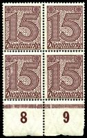Lot 22549 [6 of 10]:1920 Numerals Without '21' in Corners: Mi #23-33 set of 10, excludes 20pf violet-ultramarine, in blocks of 4, Cat €60, most are marginal with 2**/2*, only 1 unit of 2m is ** & all units of 10pf are *.