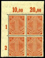 Lot 22549 [1 of 10]:1920 Numerals Without '21' in Corners: Mi #23-33 set of 10, excludes 20pf violet-ultramarine, in blocks of 4, Cat €60, most are marginal with 2**/2*, only 1 unit of 2m is ** & all units of 10pf are *.