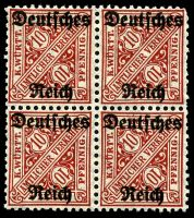 Lot 22550:1920 Wurttemberg 'Amtlichter Verkehr' Opt 'Deutches/Reich': Mi #58 10pf block of 4, 3**/1*, Cat €24.