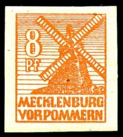 Lot 22683:1946 Mecklenburg-Vorpommern Scenes: Mi #34yb 8pf red-orange shade, greyish paper, Cat €130.