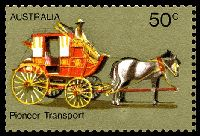 Lot 617 [2 of 3]:1972-76 Pioneer Life BW #615d,e 50c Transport, White paper, right marginal block of 4, TRC unit with Retouch under horse's hind legs [R3/5] & BLC unit with White flaws on horse's blinker & neck [R4/4], Cat $30.