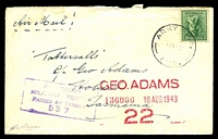 Lot 1042:Army P.O. light 'ARMY P.O./7AU43/0126.' (Mataranka, NT), on 4d Koala on plain air cover to Tatts, with boxed 'AUST