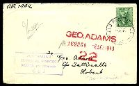 Lot 859:Field Post Office 'FIELD POST OFFICE/30AU43/026.' (Trinity Beach, Qld), on 4d Koala, on air cover to Tatt's, with boxed 'AUSTRALIAN/IMPERIAL FORCES/PASSED BY CENSOR/681' (A1). [Rated 50 by Proud]