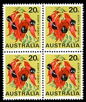 Lot 3254:1968 Floral Emblems BW #486 20c Sturt's Desert Pea, block of 4, Cat $26.