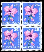 Lot 606:1968 Floral Emblems BW #487 25c Cooktown Orchid, block of 4.