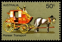 Lot 3297 [2 of 3]:1972-76 Pioneer Life BW #615d,e 50c Transport, White paper, right marginal block of 4, TRC unit with Retouch under horse's hind legs [R3/5] & BLC unit with White flaws on horse's blinker & neck [R4/4], Cat $30.