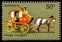 Lot 3297 [3 of 3]:1972-76 Pioneer Life BW #615d,e 50c Transport, White paper, right marginal block of 4, TRC unit with Retouch under horse's hind legs [R3/5] & BLC unit with White flaws on horse's blinker & neck [R4/4], Cat $30.