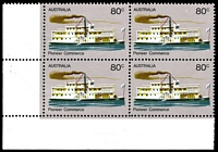 Lot 779 [1 of 3]:1972-76 Pioneer Life BW #619f,g 80c Commerce, White paper, BLC block of 4, TRC with Retouch left of '80c' [L9/2] & BLC with Retouch in lower left corner below 'Pio' of 'Pioneer' [L10/1], Cat $24.