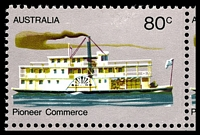 Lot 413 [2 of 3]:1972-76 Pioneer Life BW #619j,k,l 80c Commerce, White paper, BRC block of 9, TLC with Large retouch left of '80c' [R8/3], TRC with Retouch above steamer under RAL of AUSTRALIA [R8/5] & centre right unit with Retouches over smoke stack of steamer [R9/5], Cat $36+.