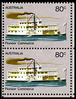Lot 413 [3 of 3]:1972-76 Pioneer Life BW #619j,k,l 80c Commerce, White paper, BRC block of 9, TLC with Large retouch left of '80c' [R8/3], TRC with Retouch above steamer under RAL of AUSTRALIA [R8/5] & centre right unit with Retouches over smoke stack of steamer [R9/5], Cat $36+.