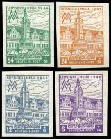 Lot 3512:1946 West Saxony Leipzig Town Hall: Mi #162-5BY set of 4, imperf, wmk Rising Steps, Cat €12.