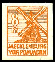Lot 21781:1946 Mecklenburg-Vorpommern Scenes: Mi #34yb 8pf red-orange shade, greyish paper, Cat €130.