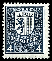 Lot 21782:1946 West Saxony Leipzig & Arms Descending Steps Wmk: Mi #151X 4pf blackish grey-blue.