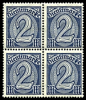 Lot 3986 [2 of 10]:1920 Numerals Without '21' in Corners: Mi #23-33 set of 10, excludes 20pf violet-ultramarine, in blocks of 4, Cat €60, most are marginal with 2**/2*, only 1 unit of 2m is ** & all units of 10pf are *.